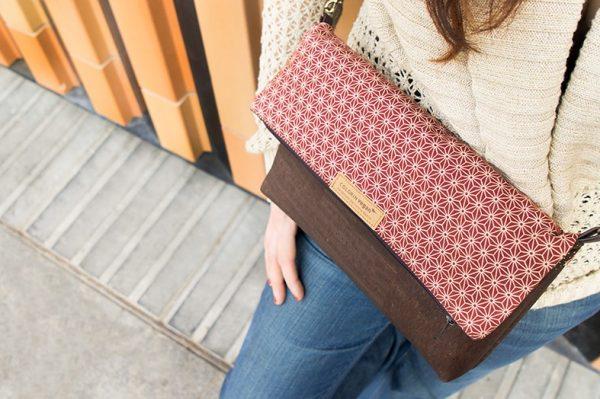 Detail einer Handtasche aus kork mit Sternen Stoffmuster 1