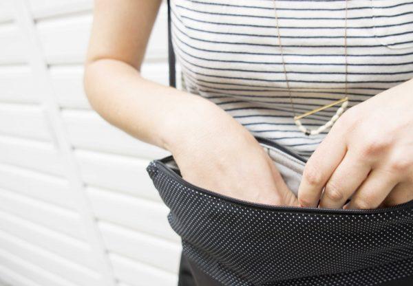 Handtasche kork mit Innenfutter schwarz